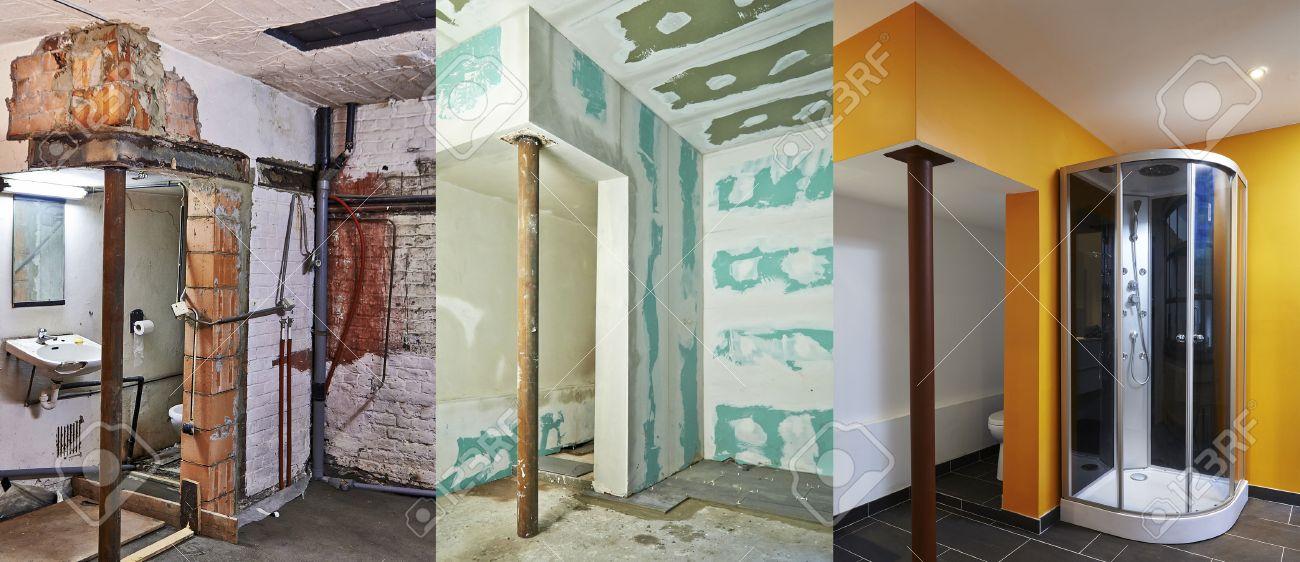 Renovierung Und Bau Von Trockenbau Gipskartonplatten In Einem Badezimmer  Lizenzfreie Bilder   26812506