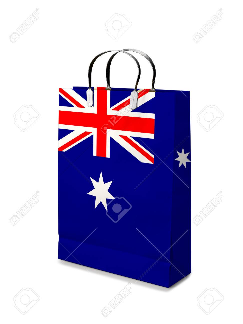 Shopping Bag With Australia Flag. Retail Business On White ...