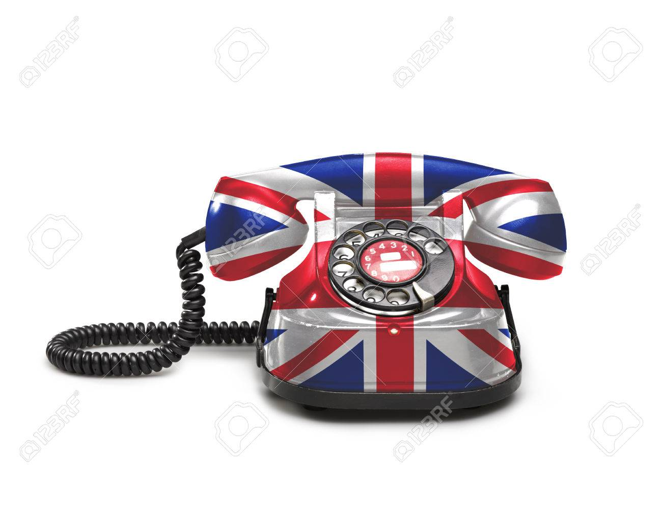 photo  office old and vintage telephone with the union jack flag on white background