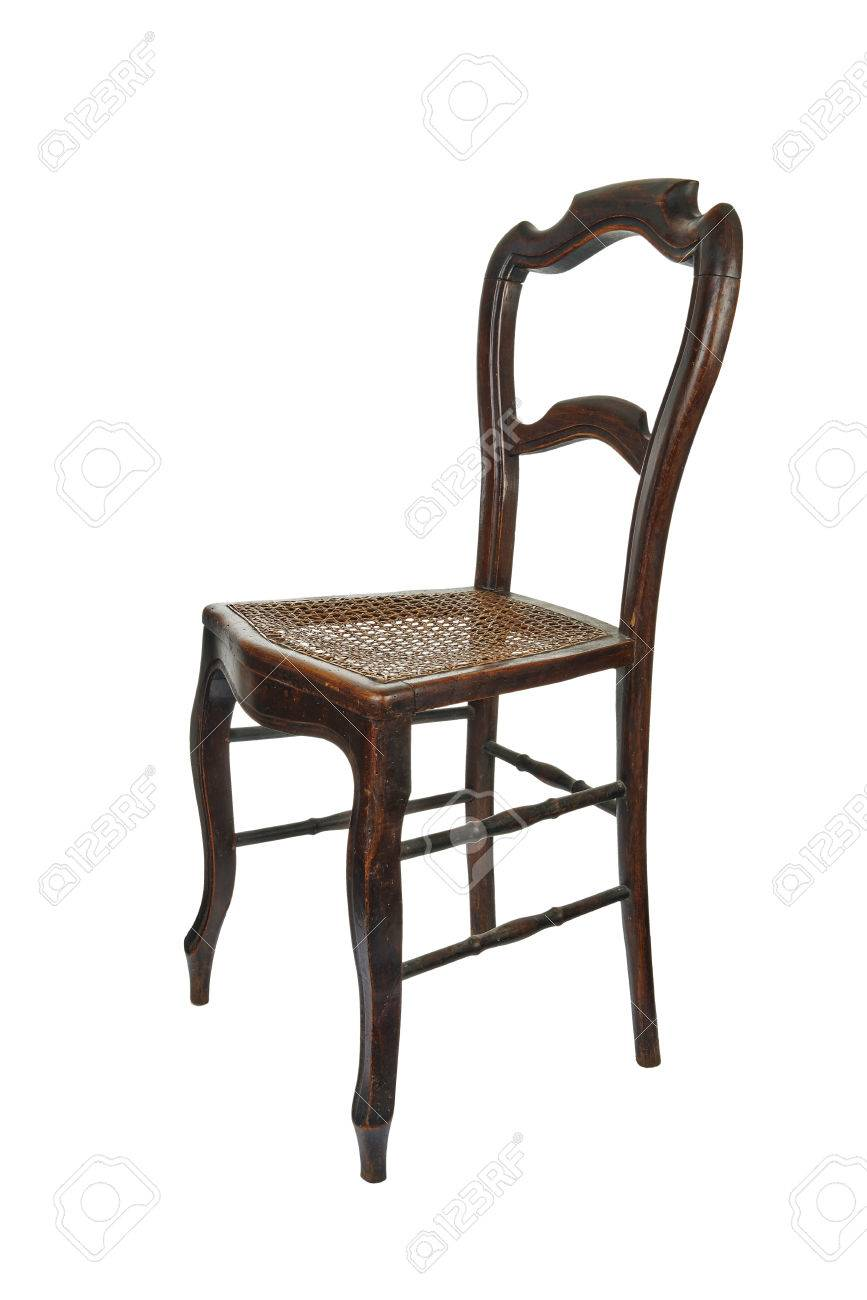 Antique wooden chair with cane isolated on white - 3/4 Front view Stock  Photo - Antique Wooden Chair With Cane Isolated On White - 3/4 Front.. Stock
