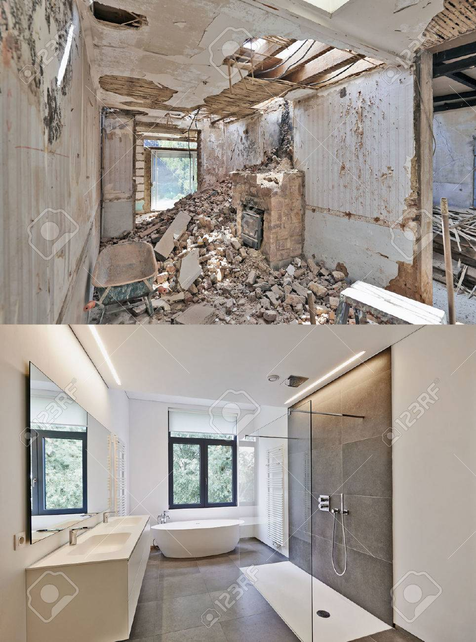 Renovation of a bathroom Before and after in vertical format Standard-Bild - 51686290