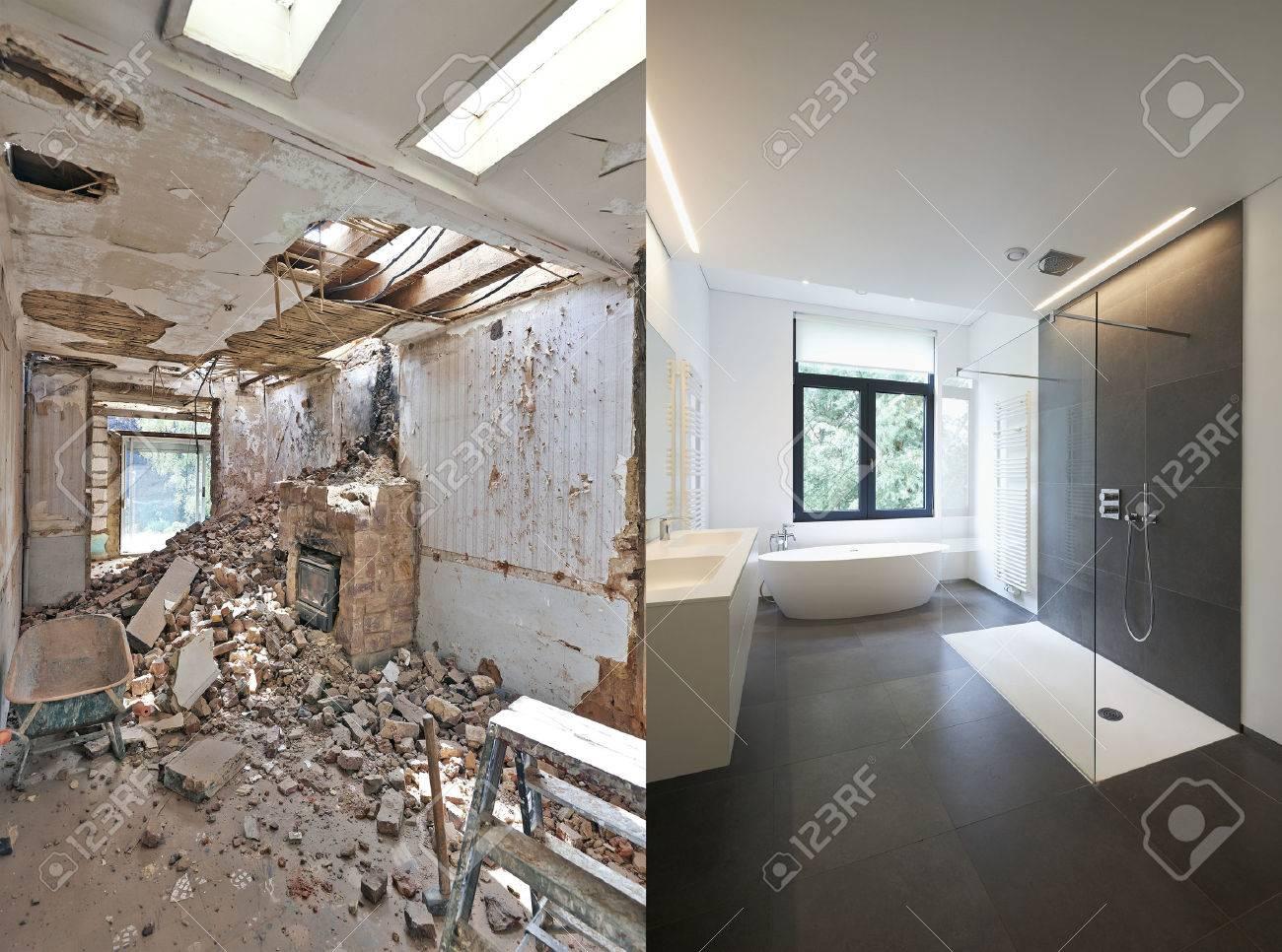 Rénovation Salle De Bain Avant Après rénovation d'une salle de bain avant et après en format horizontal