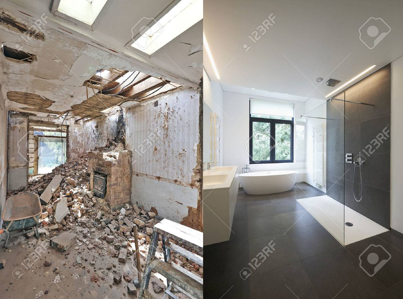 Renovation of a bathroom Before and after in horizontal format Standard-Bild - 51686294