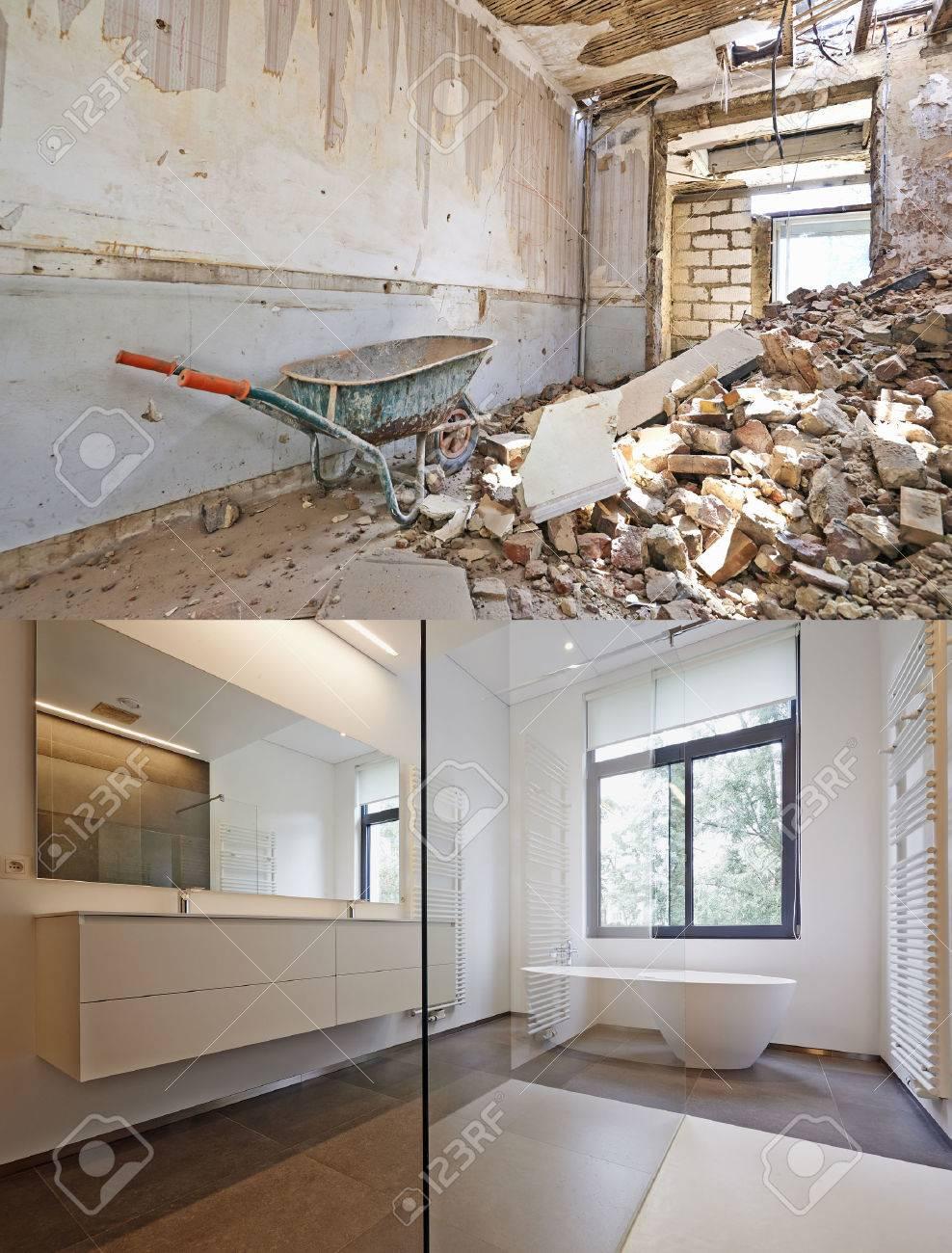 Badkar i corian, kran och dusch i kaklat badrum, renovering före ...
