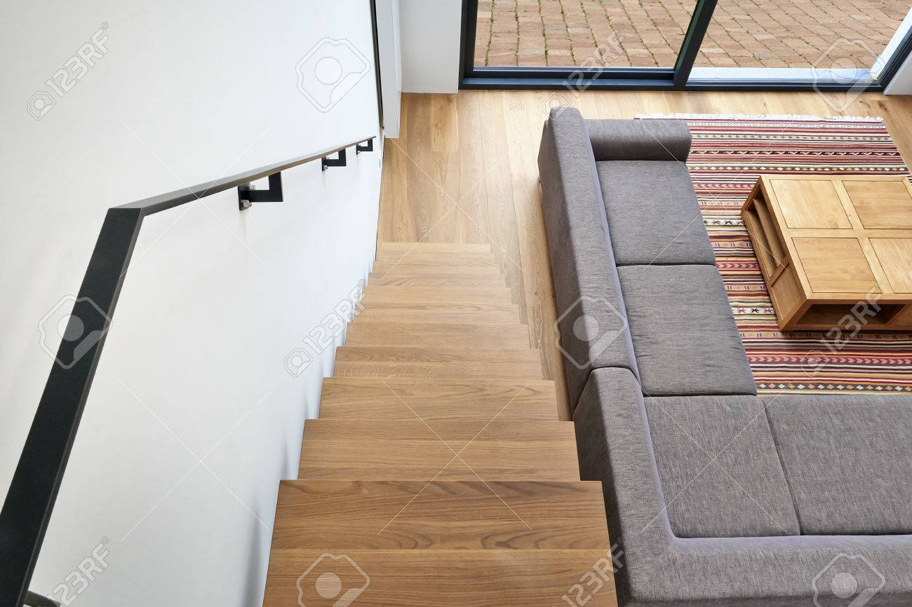 Hardwood Stairs And Ramp In Modern Renovated Living Room Stock Photo    67571523
