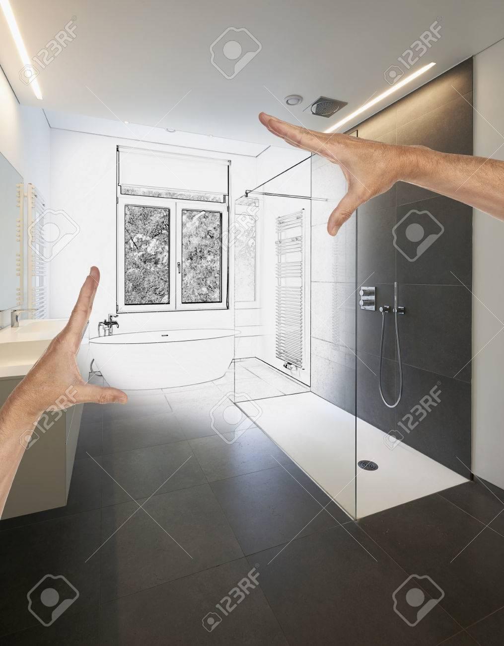 Renovación prevista de un moderno cuarto de baño de lujo, Bañera de Corian,  grifo y ducha en el baño de azulejos con ventanas hacia el jardín