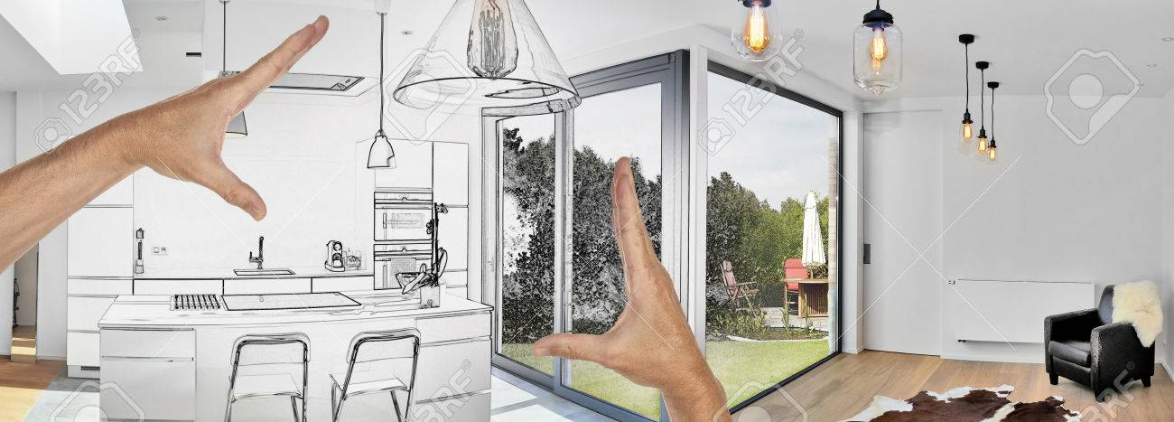 Planned renovation of a Open modern kitchen from loft with view on a lush garden - 72486319