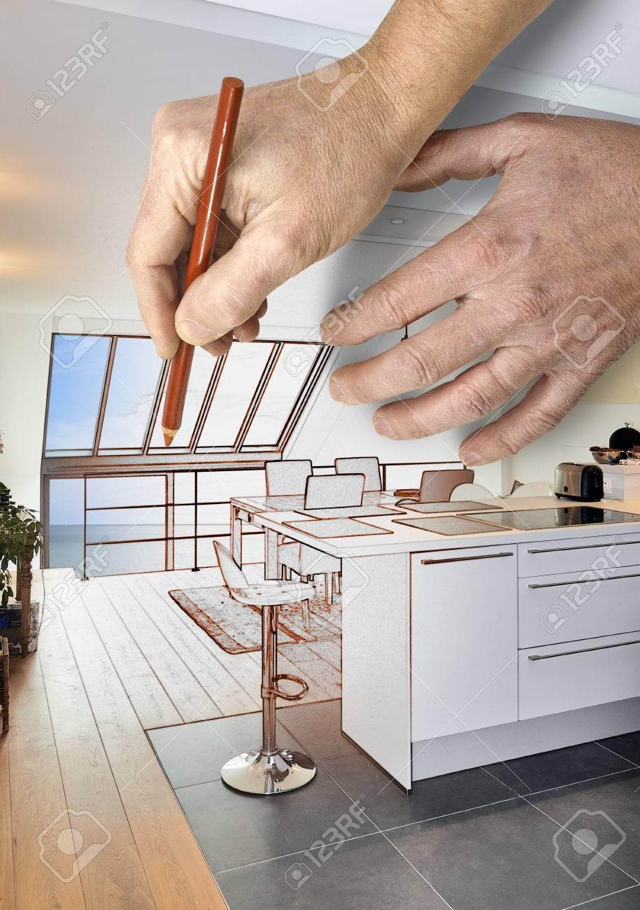 Dessin de rénovation d\'une cuisine ouverte moderne dans maison rénovée
