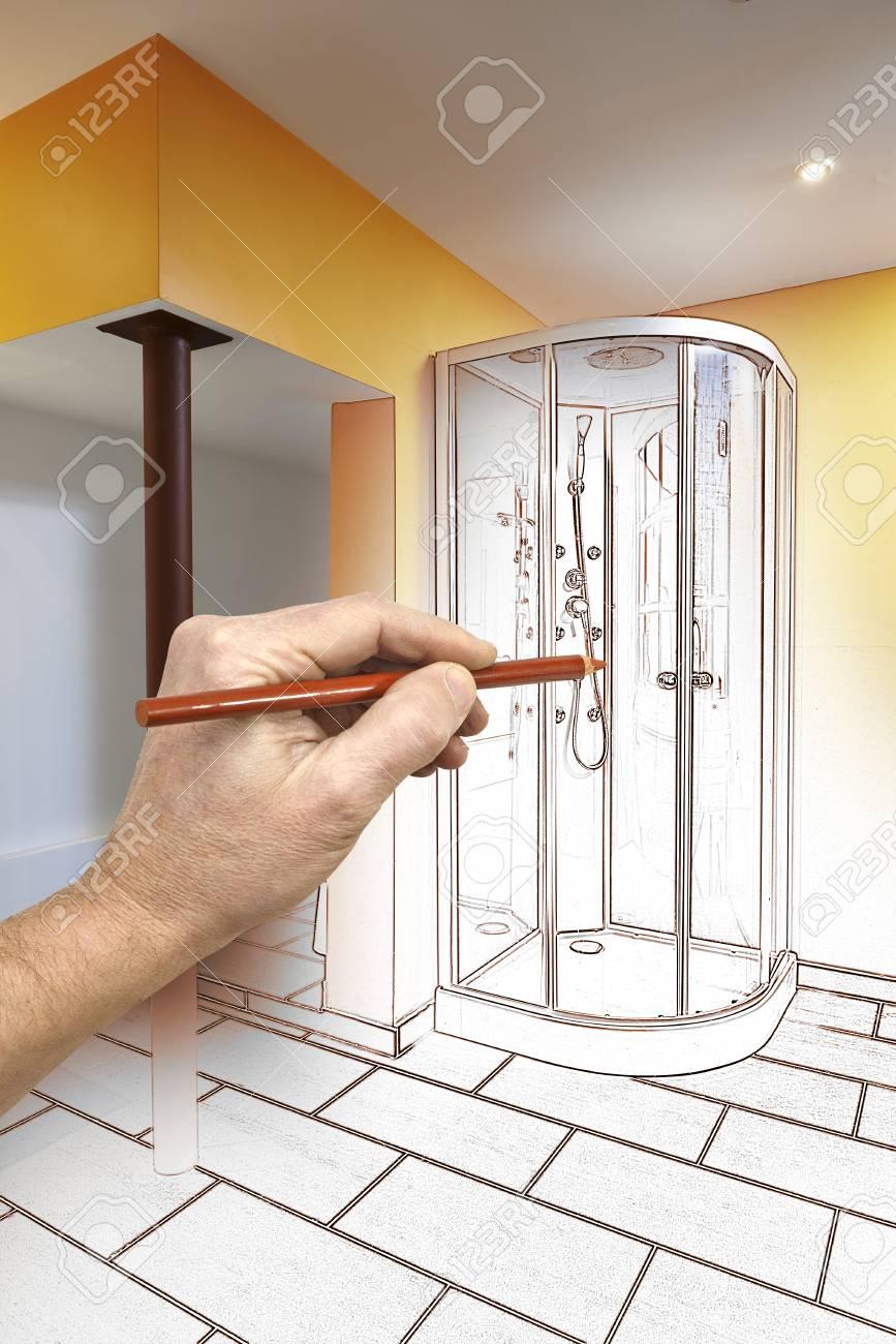 Dessin Renovation D Une Salle De Bain Moderne Avec Douche Banque D