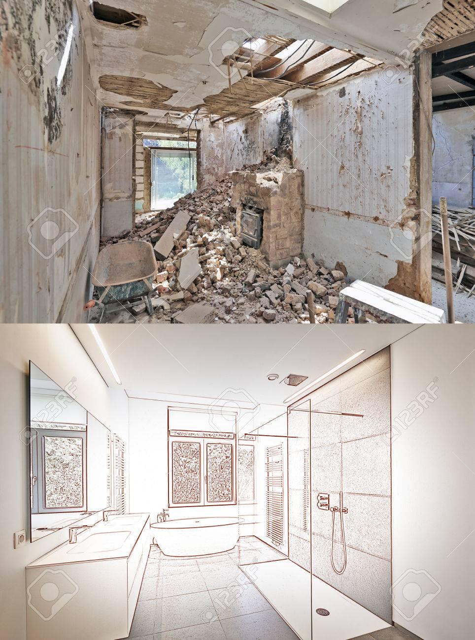 Rénovation Salle De Bain Avant Après dessin et projet de rénovation d'une salle de bain avant et après