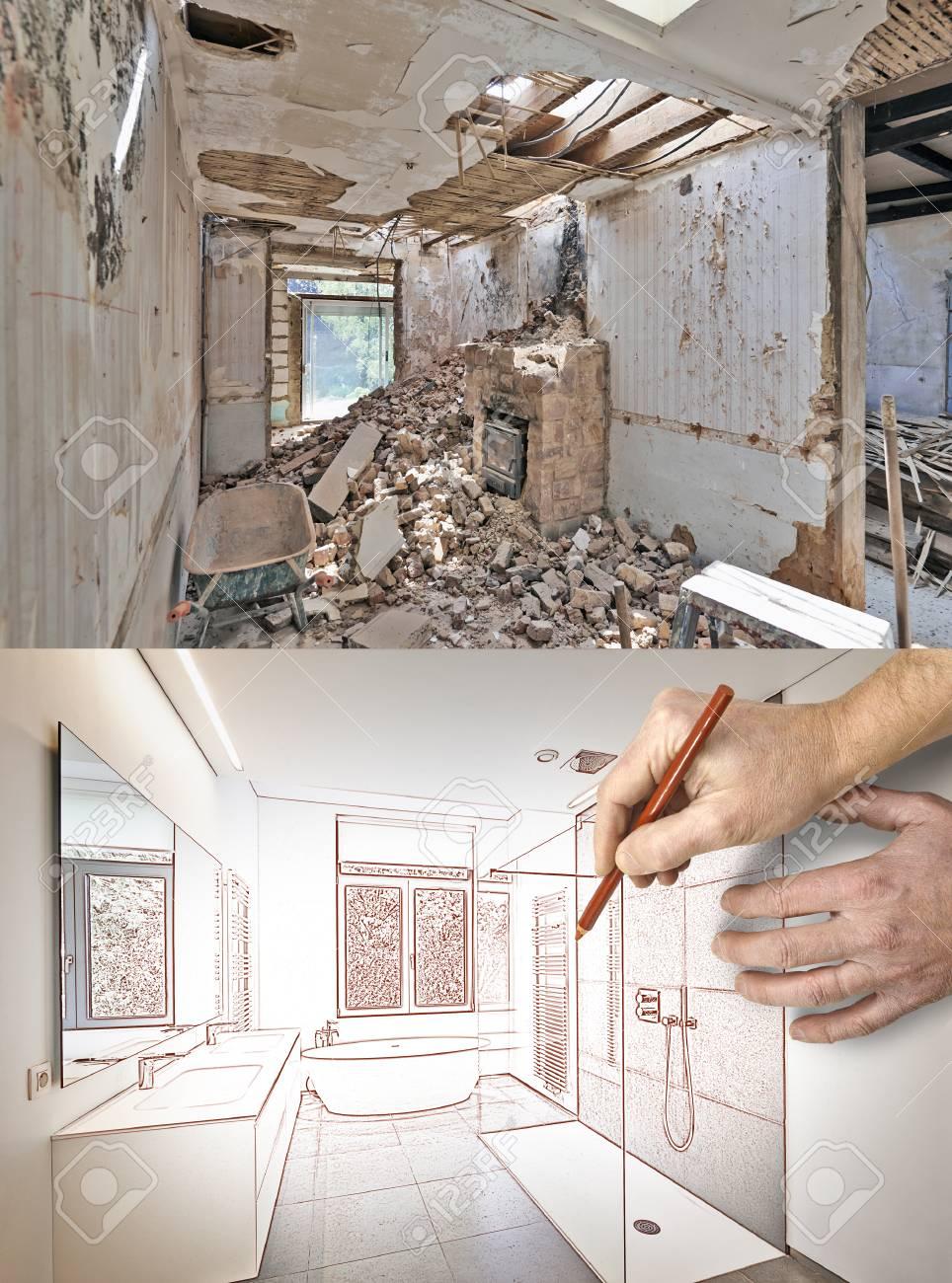 Dessin Et Projet De Rénovation D\'une Salle De Bain Avant Et Après ...