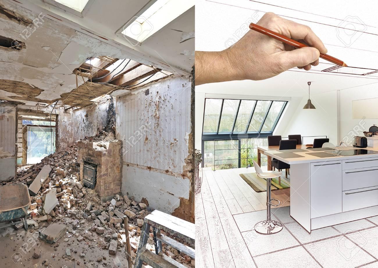 Dessin et planification Cuisine ouverte moderne dans maison rénovée, avant  et après