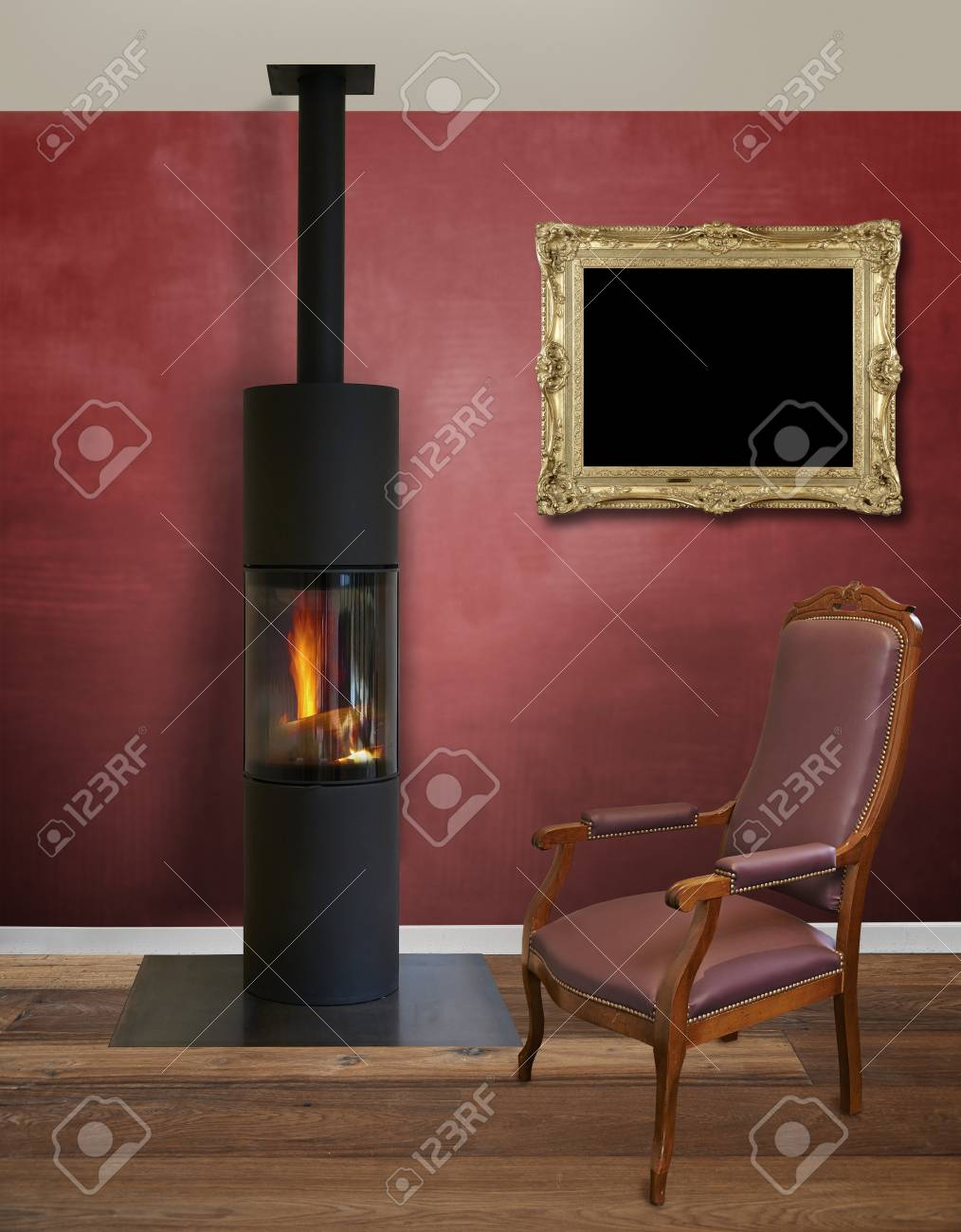 modern interior with modern wood burner against textured red stock