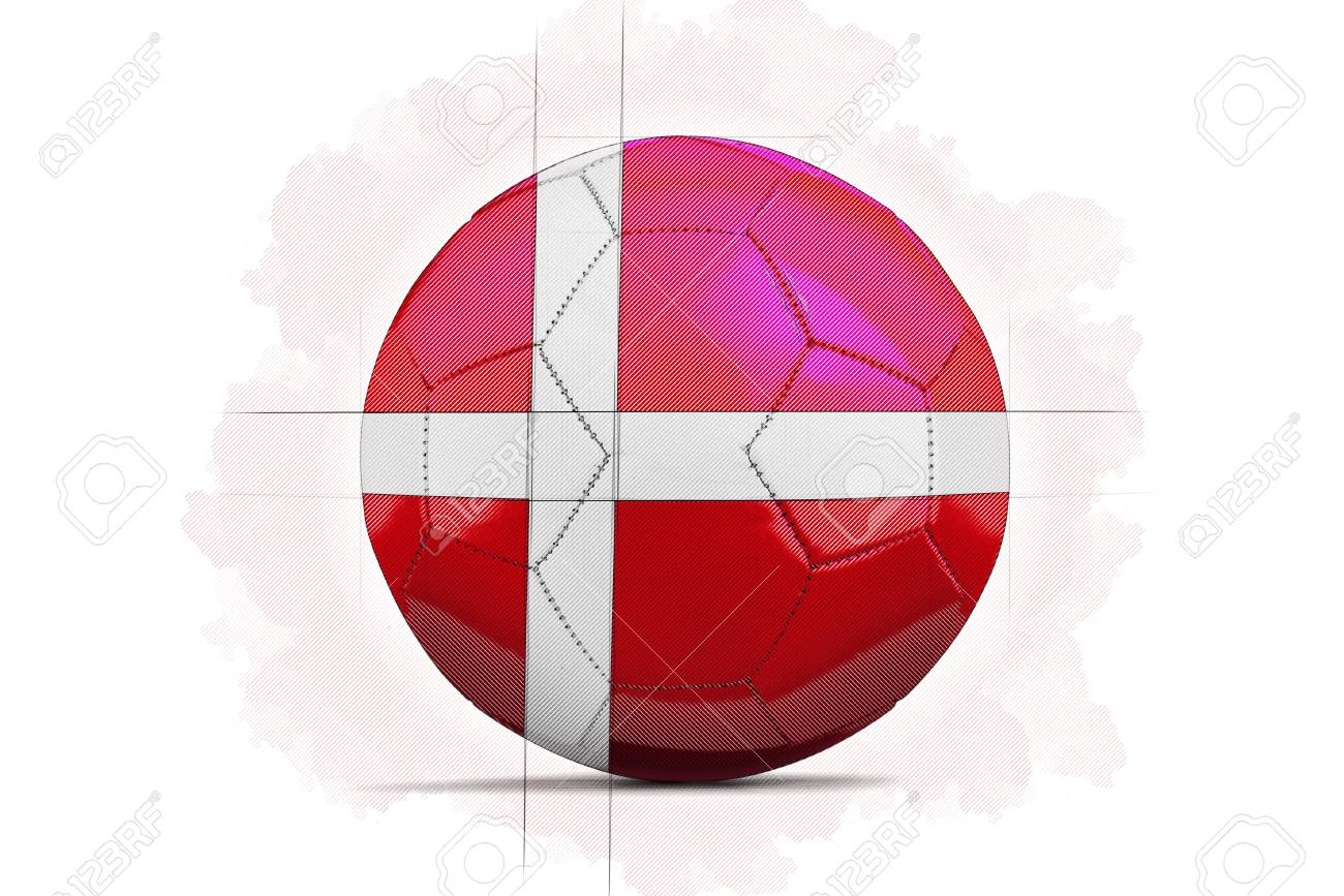 digital artwork sketch of a soccer ball with team flag denmark