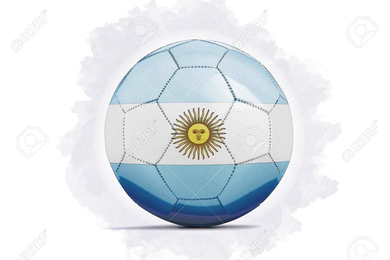 digital artwork sketch of a soccer ball with team flag argentina
