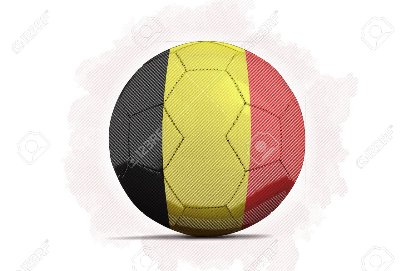 digital artwork sketch of a soccer ball with team flag belgium