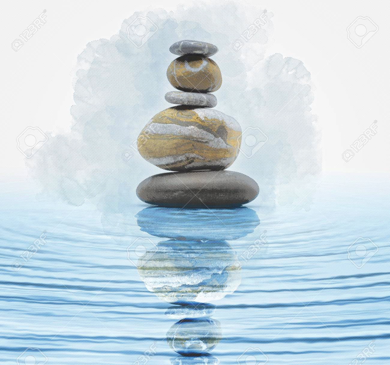 Zen Stones In Water Stock Photo Picture And Royalty Free Image