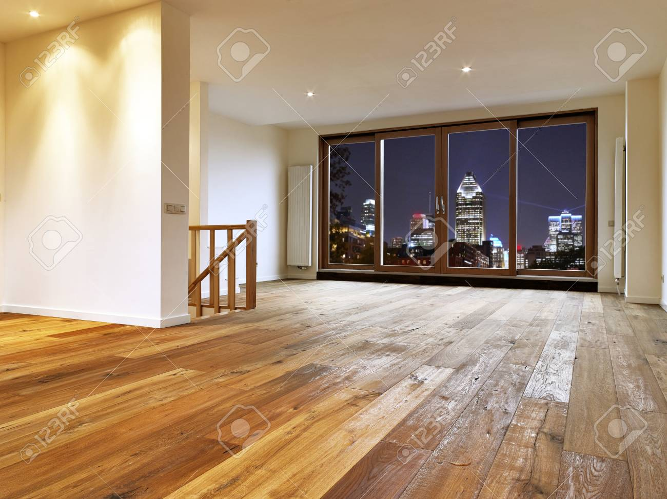 Empty Big Living Room Interior With Wooden Floor And View On