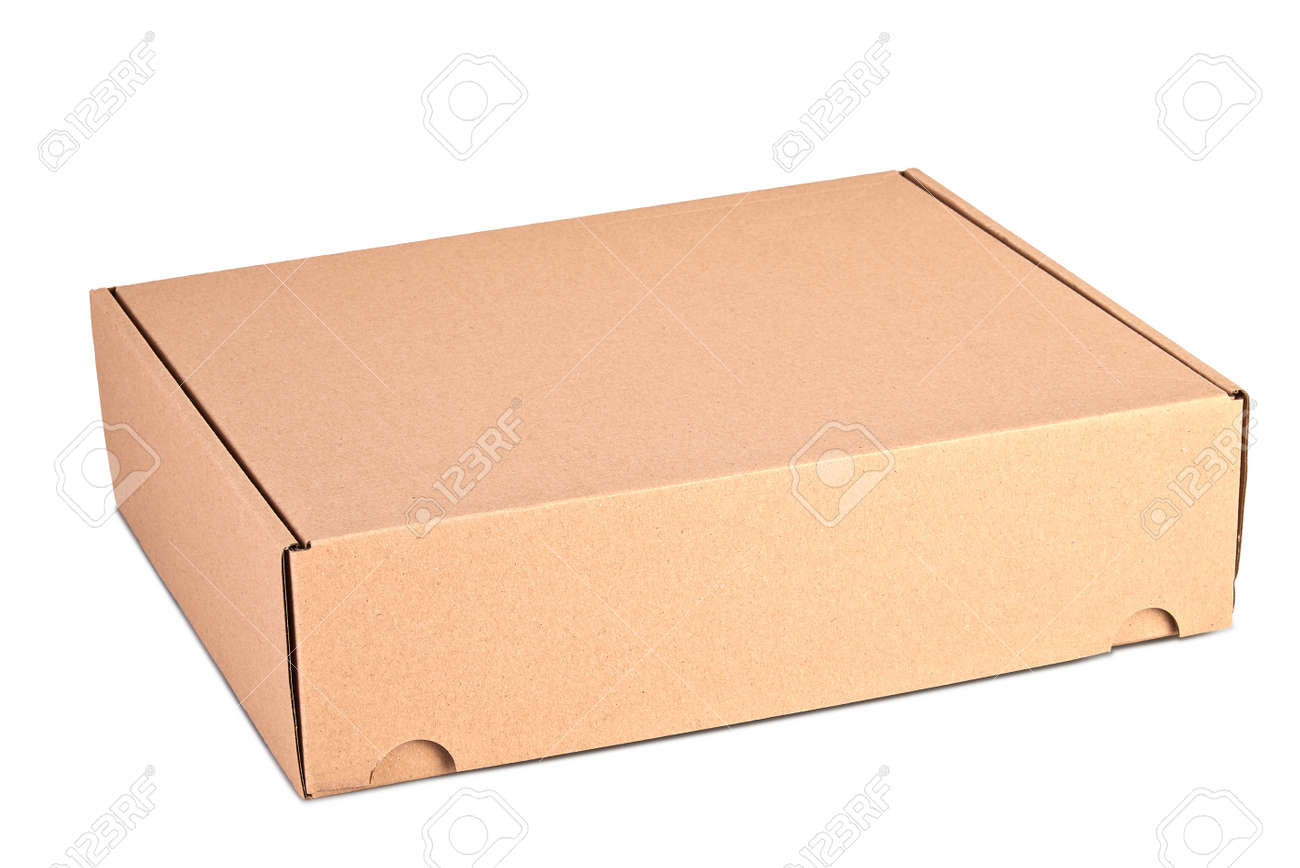 Closed card delivery Box ready for shipping isolated on white - 158423174