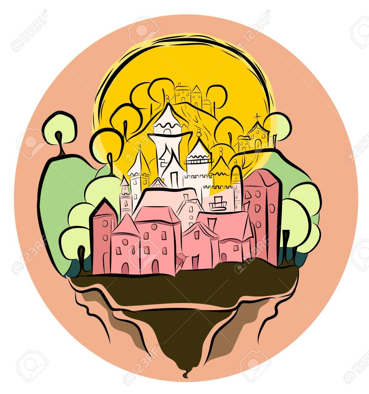 Les Filles De Dessin D Une Princesse Du Château Flottant Avec Son Village Un Soleil Des Montagnes Et Des Arbres