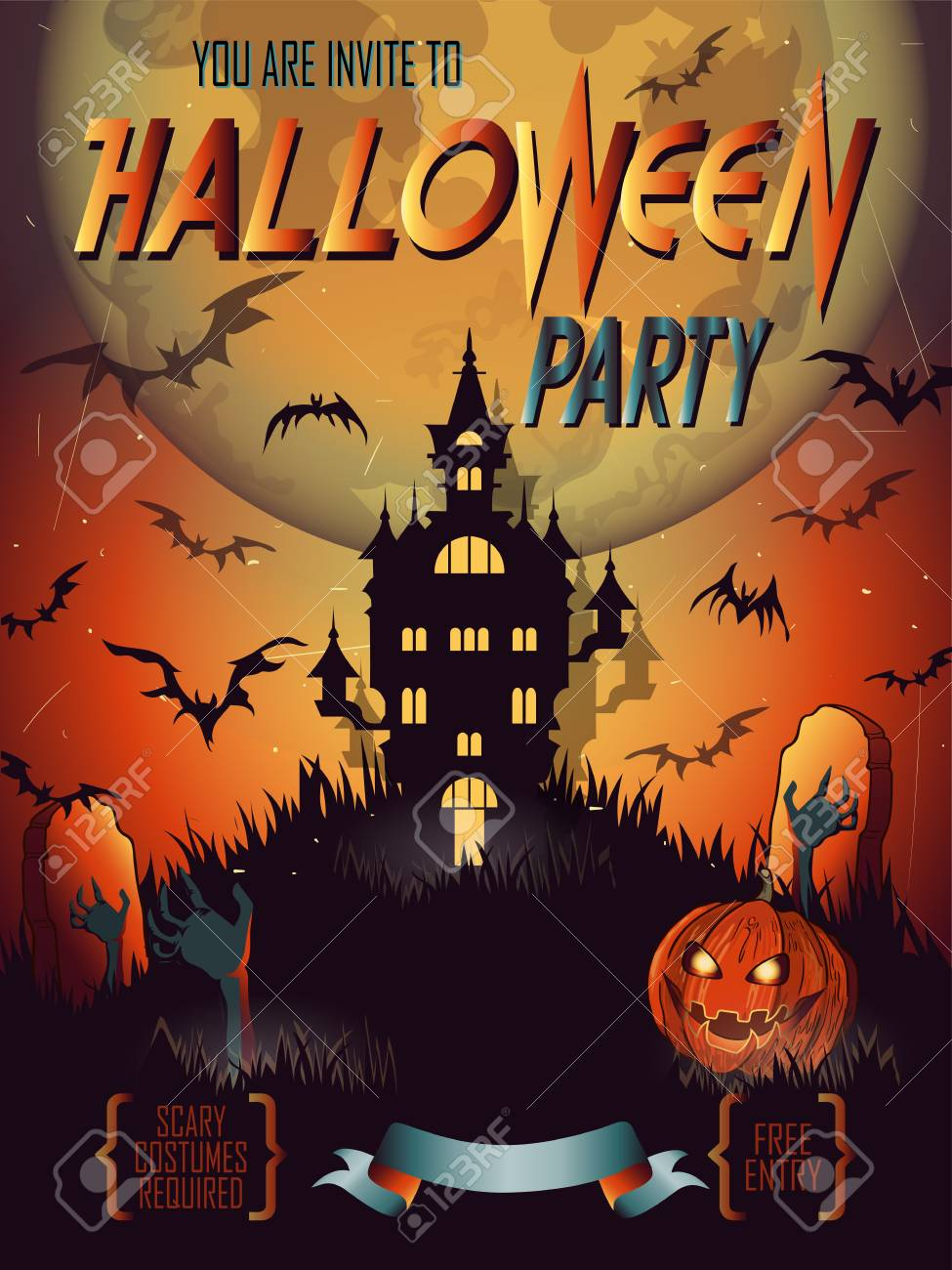 Halloween Party Invitation With Haunted House Bat Moon And Other Items On Halloween