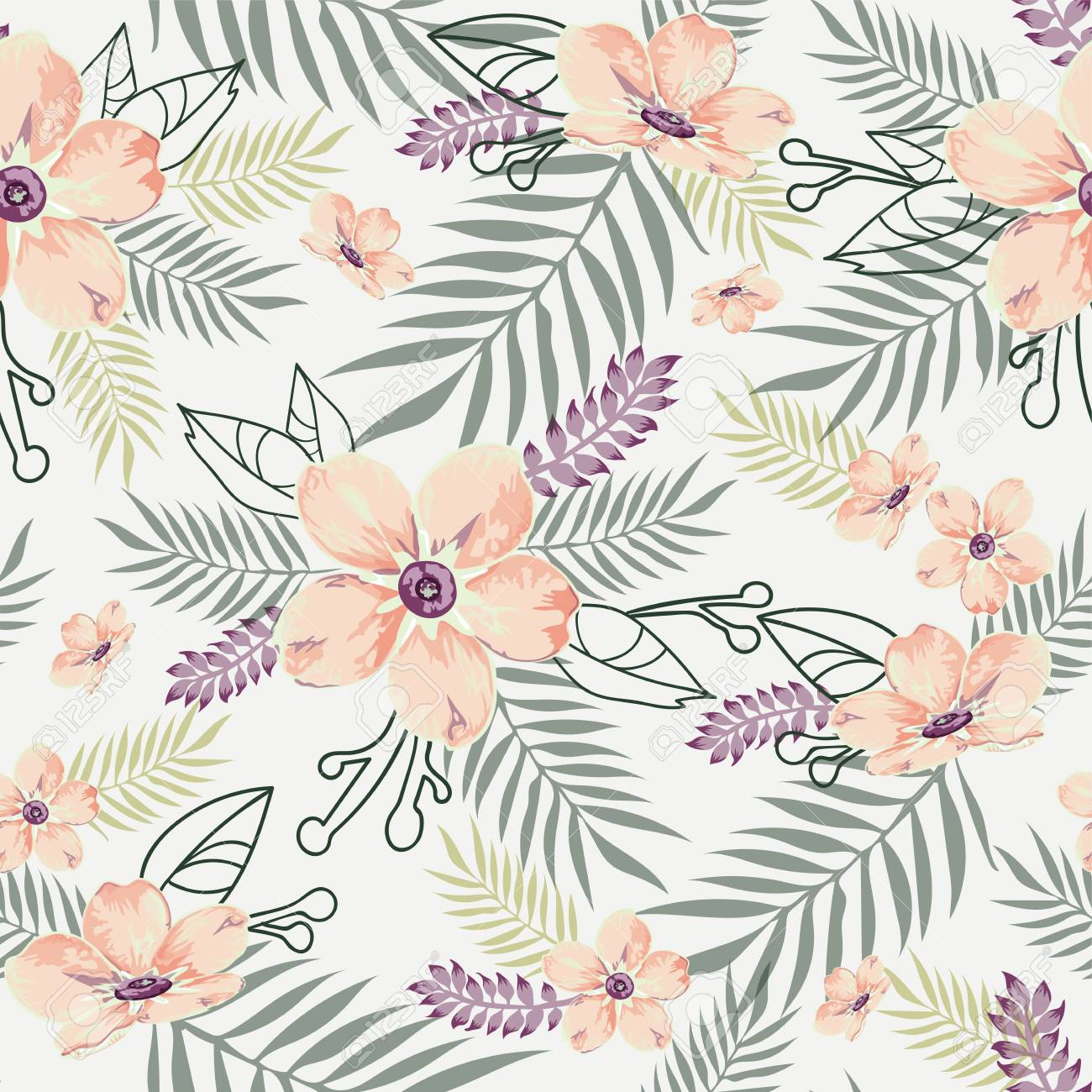 Seamless Floral Pattern Background In White Chalk With Peach