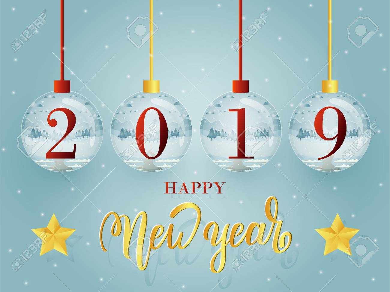 happy new year 2019 greeting card template design with glass ball collection stock photo