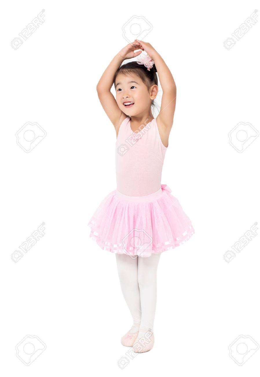 ae1f62d9cfef Little Girl Ballerina To Raise Hands Up Stock Photo