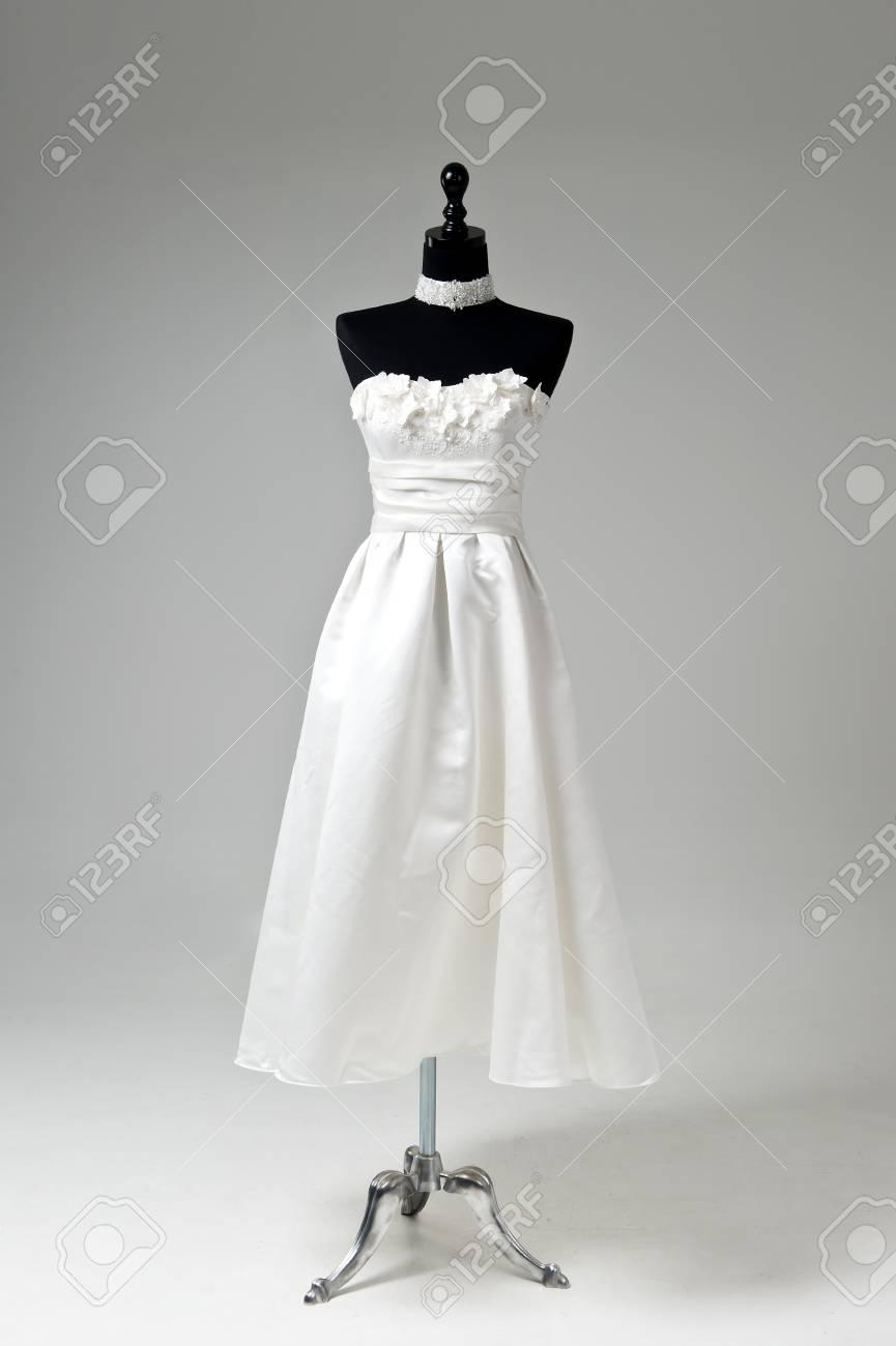 Modern White Wedding Dress Isolated On Grey Background Stock Photo ...