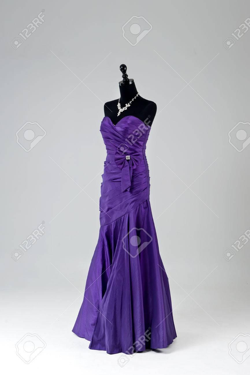 Modern Purple Wedding Dress Isolated On Grey Background Stock Photo ...