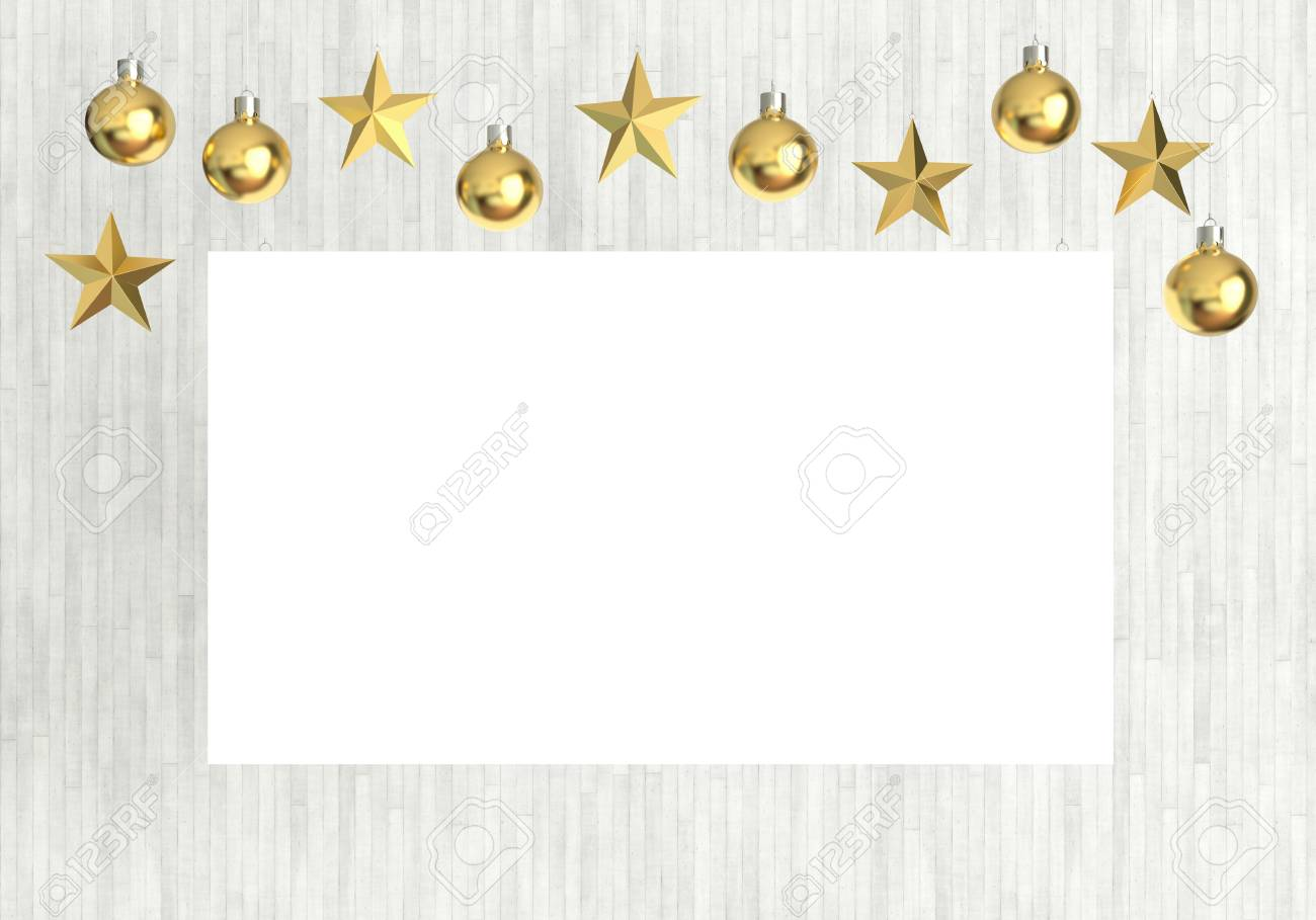 Blank Poster With Hanging Golden Balls And Stars Ornaments On