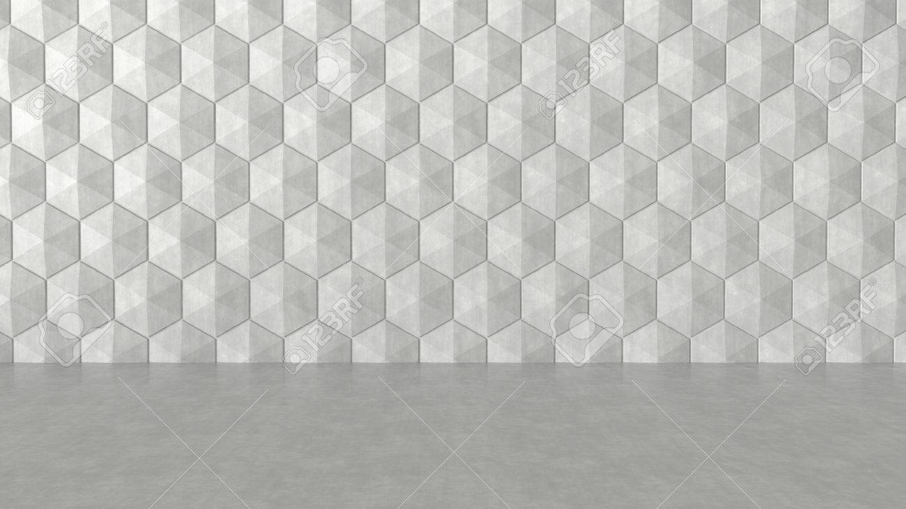 Floor and hexagons concrete pattern background. 3D rendering. Stock Photo - 70344082