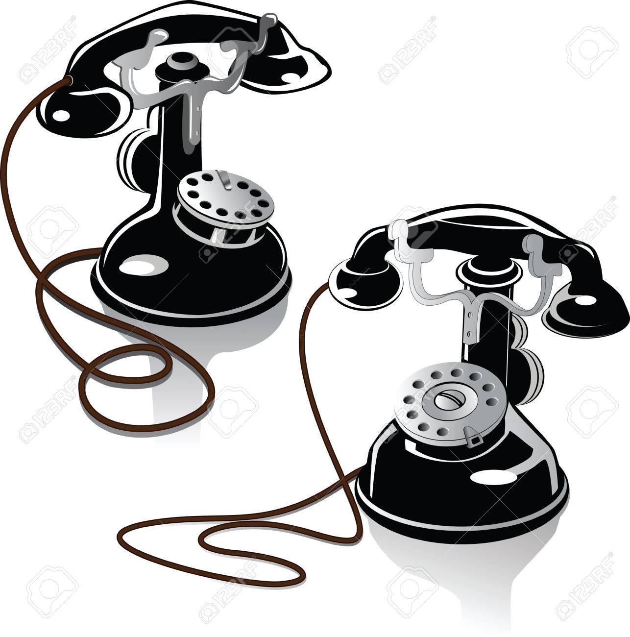 Dos Teléfonos Antiguos De Principios Del Siglo Xx Ilustraciones