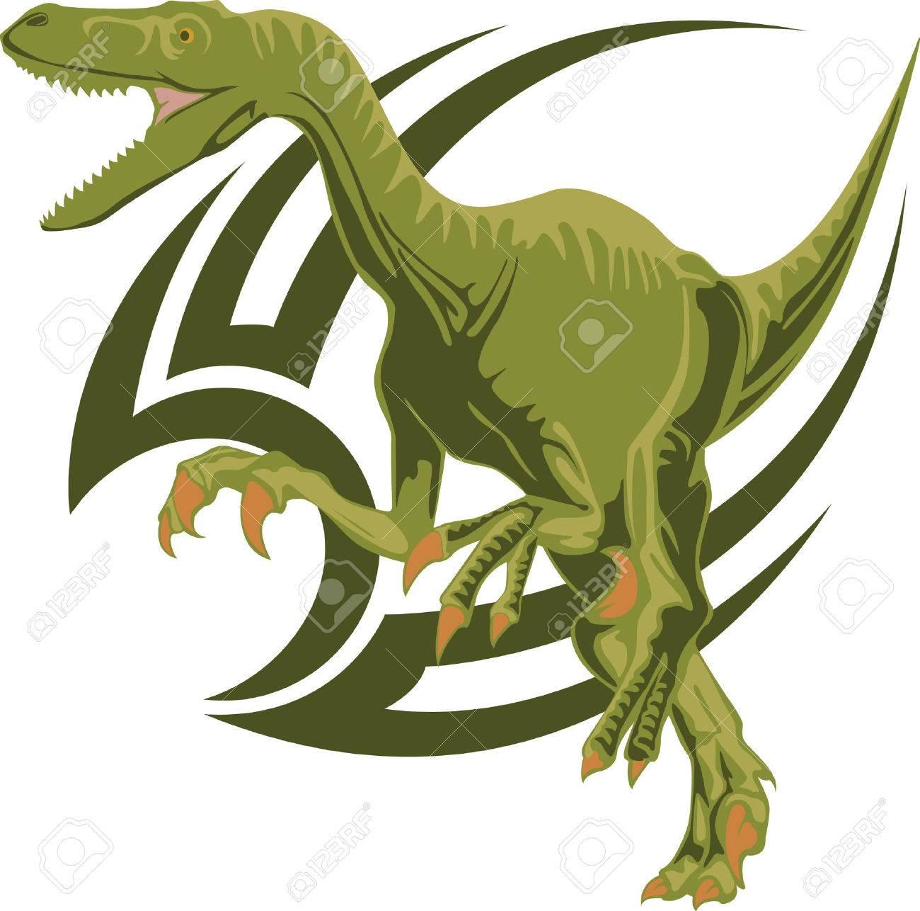 The sketch of a tattoo of a predatory dinosaur Velociraptor Stock Vector - 4787043