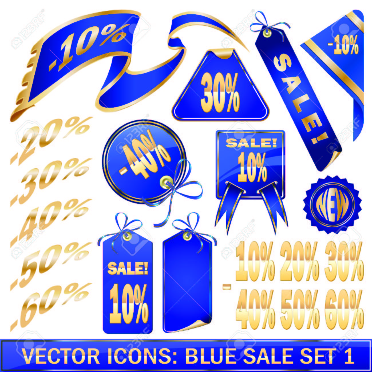 Set of blue price tags in  design Stock Vector - 6298509