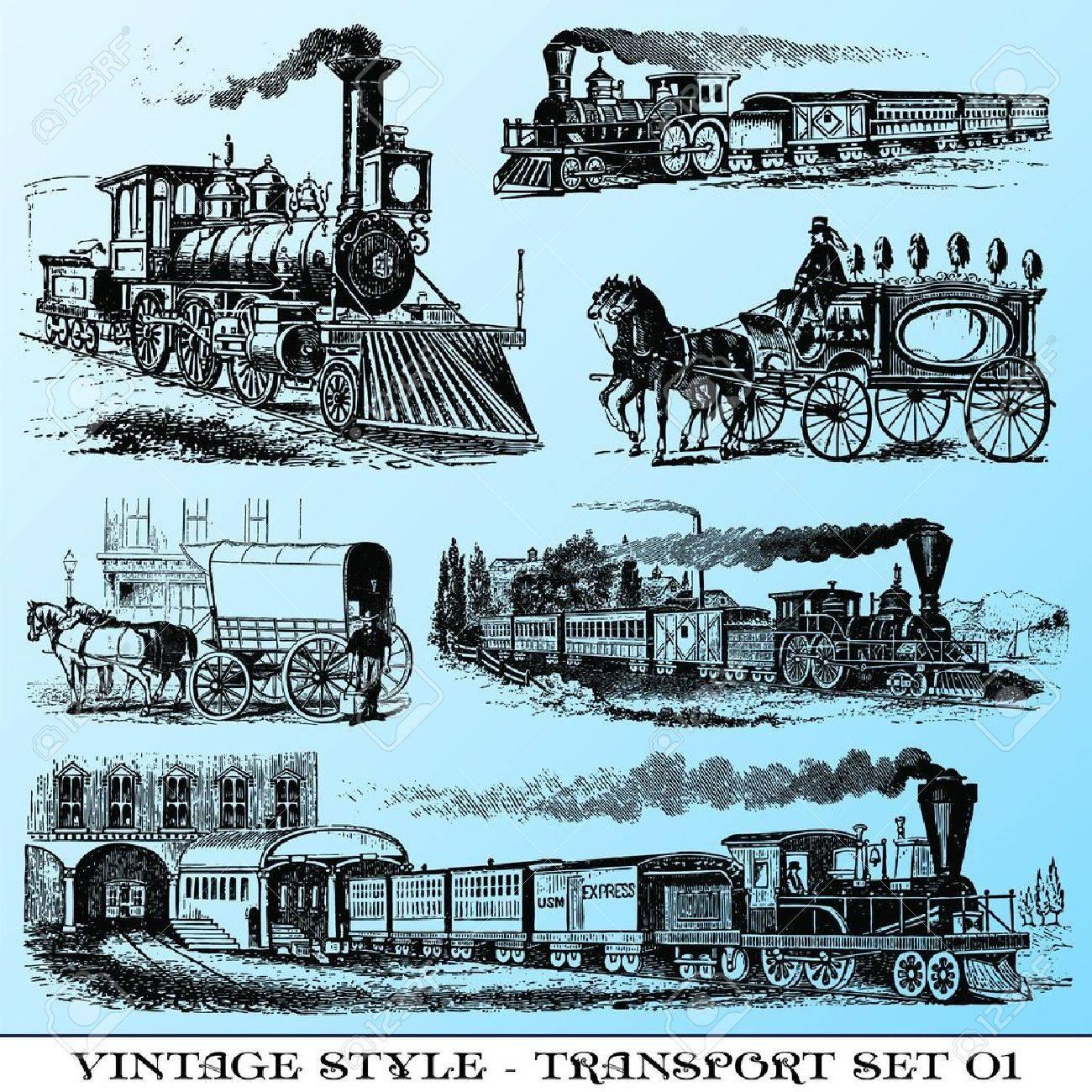 various Vintage-style illustrations - ancient transport set - 7492939