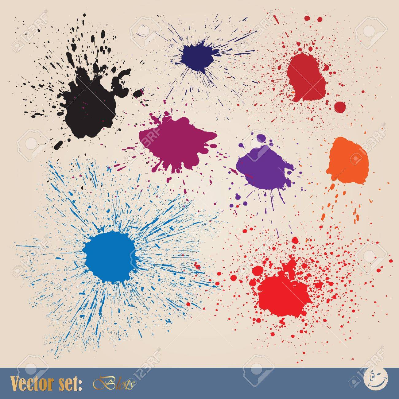 Vector set editable ink spills, stains and splashes Stock Vector - 9139595