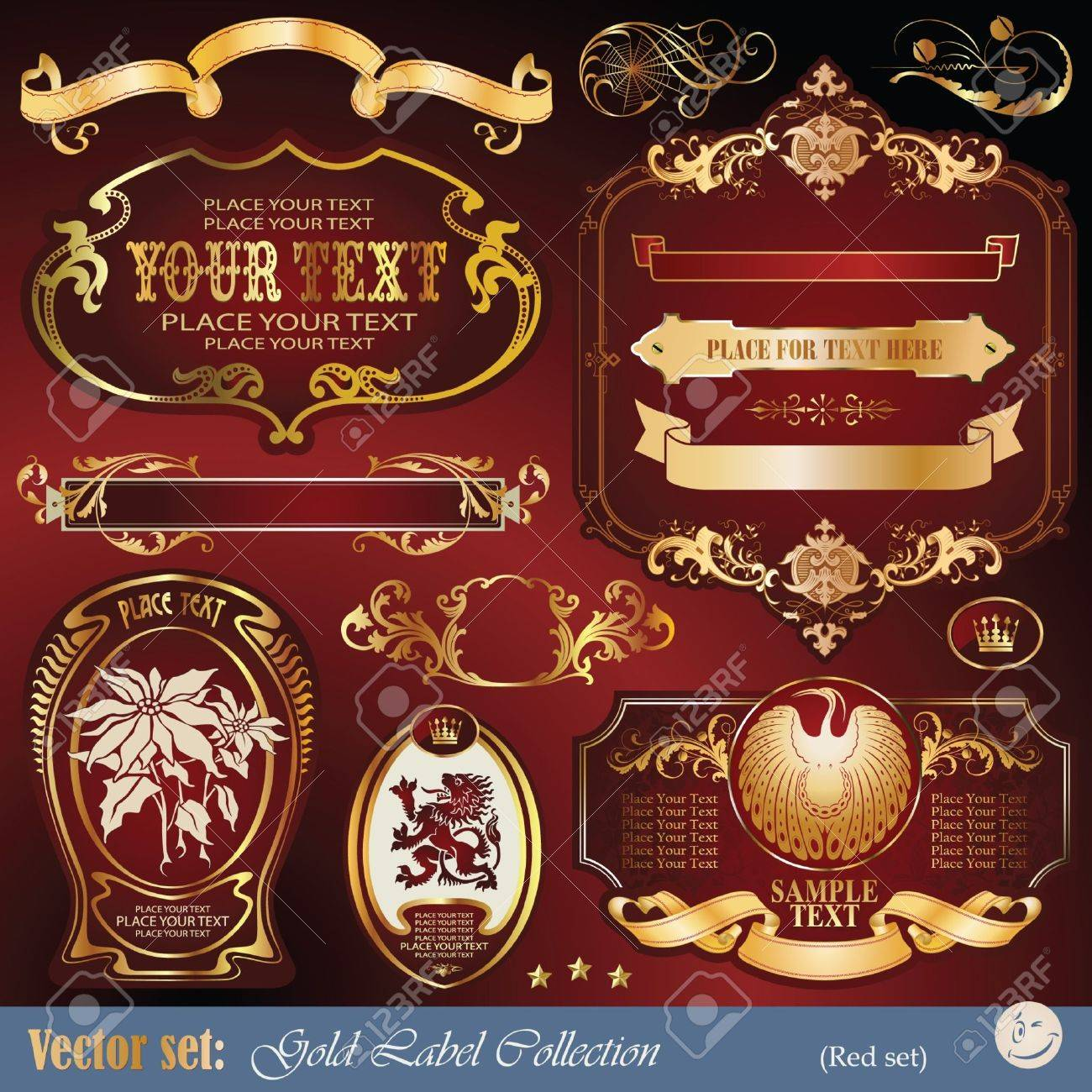 set: gold-framed labels, ribbon, ornaments and elements on different topics for decoration and design Stock Vector - 9609081