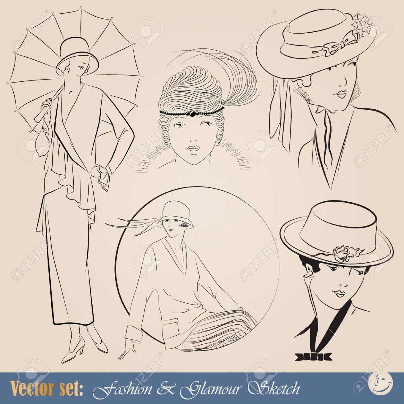 set: elegant vintage fashion illustrations and sketch - 9609076
