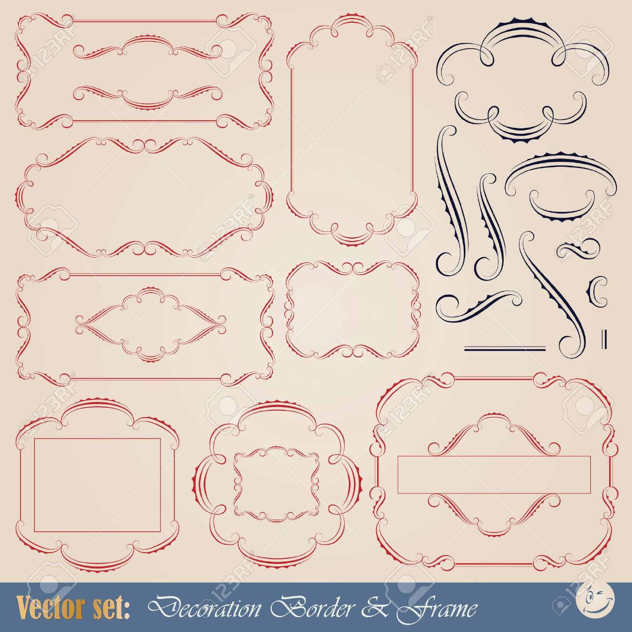 calligraphic elements and frame for design and page decoration Stock Vector - 9819490
