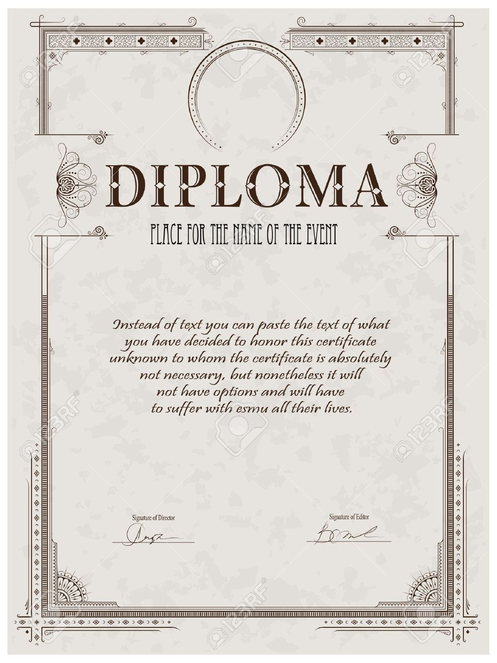 Vintage frame certificate or diploma template royalty free vintage frame certificate or diploma template stock vector 11877721 pronofoot35fo Choice Image