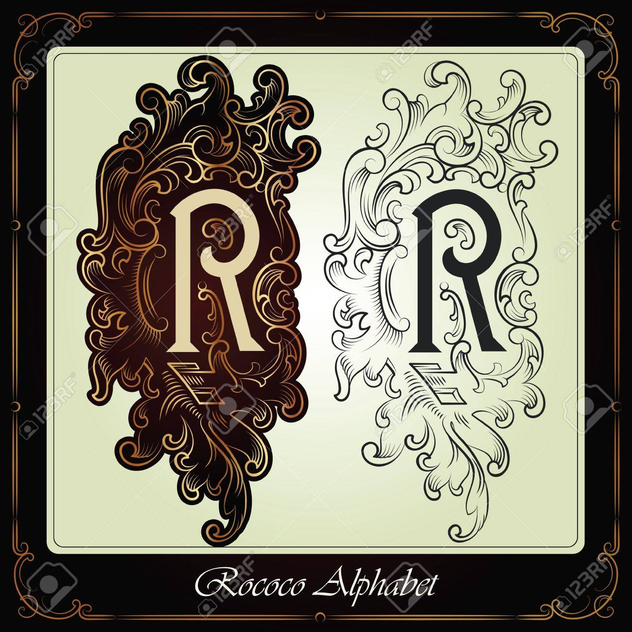 capitals and initials in the rococo style hand-made on the basis of ancient manuscripts Stock Vector - 13120220