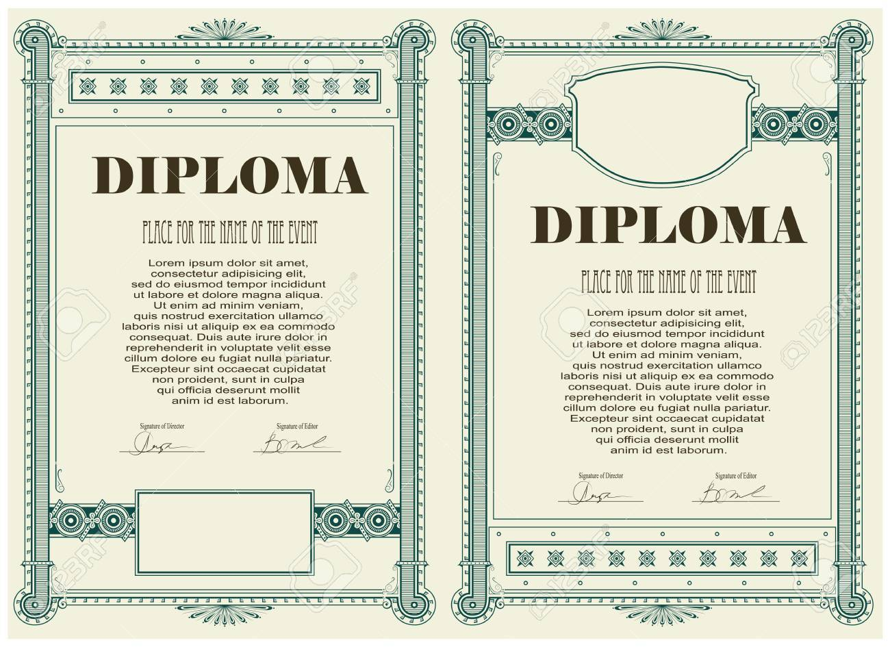 Vector Vintage Frame Certificate Or Diploma Template Royalty Free