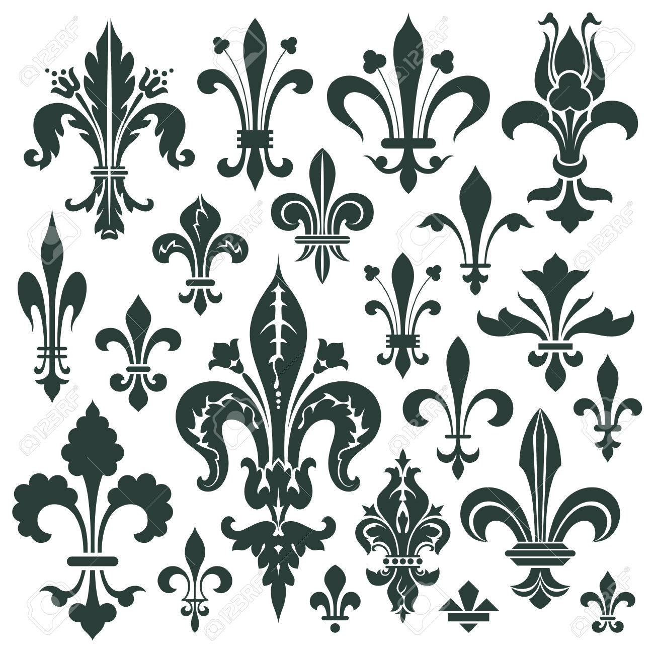 Vector set lily flower heraldic symbol for decoration and design vector set lily flower heraldic symbol for decoration and design stock vector 33225579 dhlflorist Images