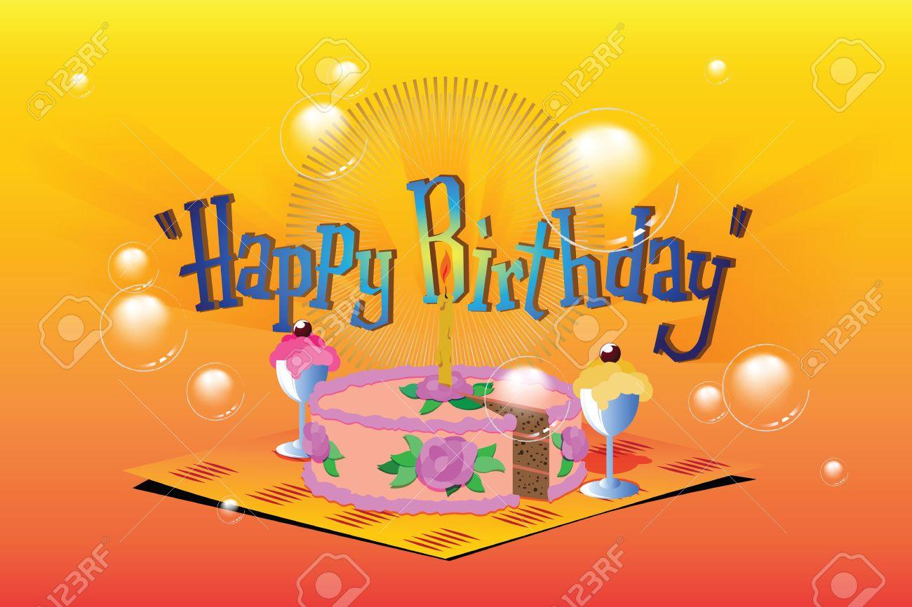 Vector Illustration Template Birthday Greetings Cake – Birthday Greetings Template
