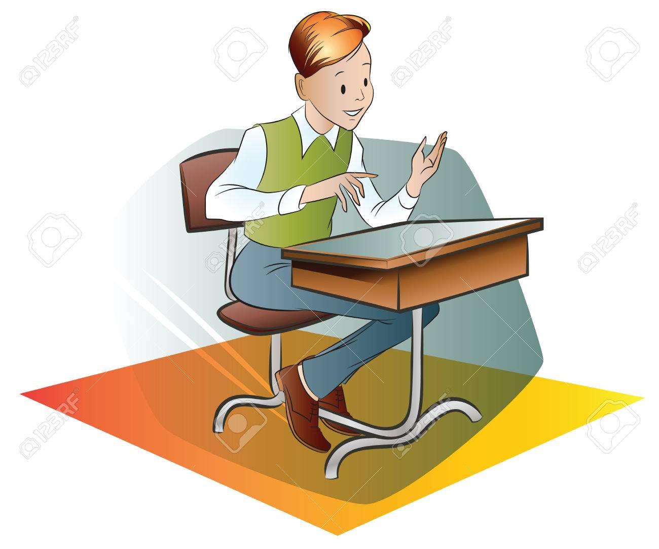 Vektor Stock Illustration Schüler An Einem Schreibtisch Schule