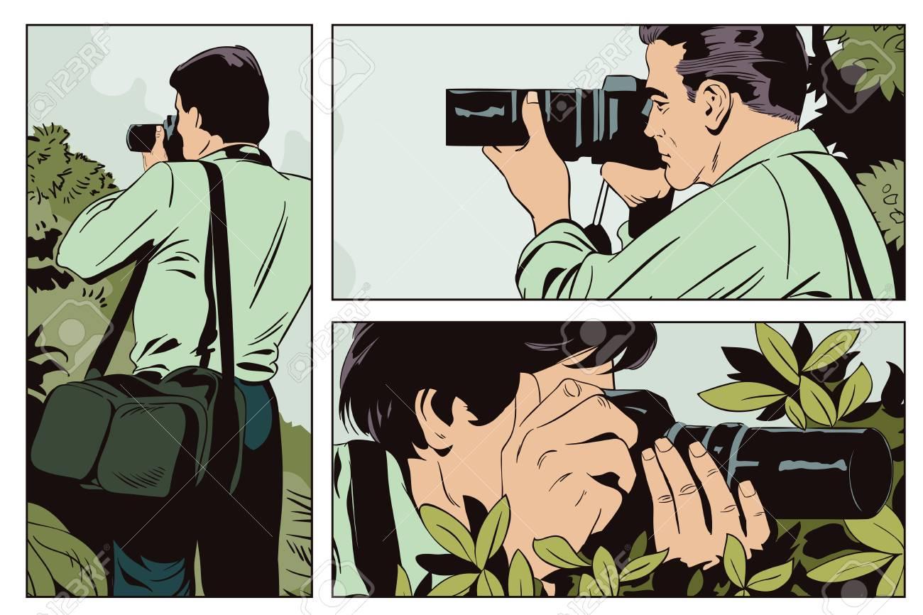 Archivio Fotografico - Archivio illustrazioni. Persone in stile fumetto e  pubblicità vintage. Fotografo funziona. 8c3e04538316