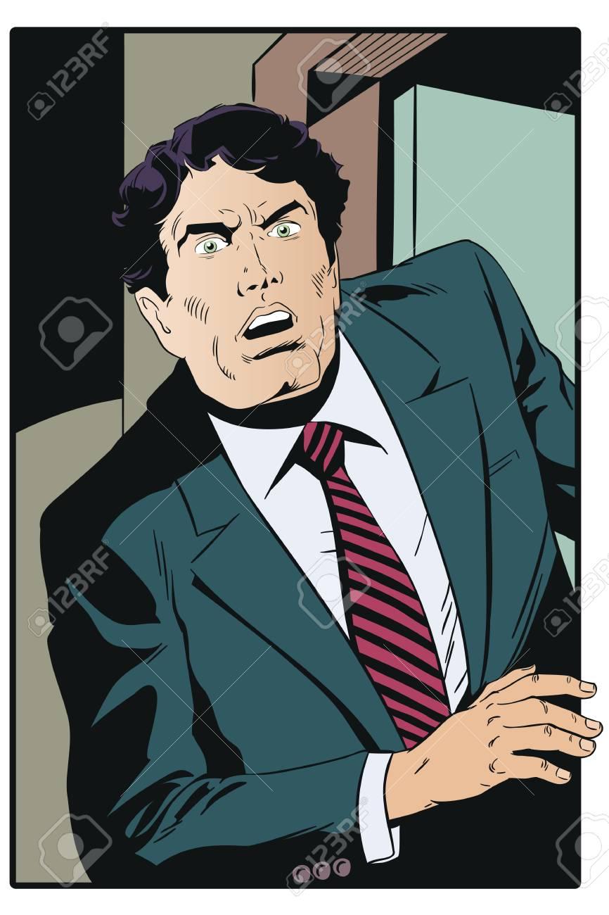 Stock illustration. Surprised businessman peeks out of doors. - 103035977