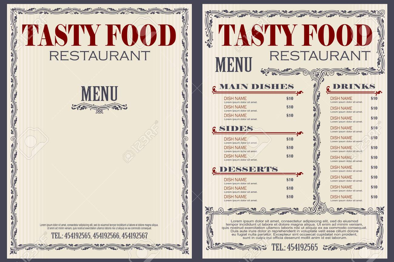 Vector stock illustration. Template cafe or restaurant menu. - 122954856