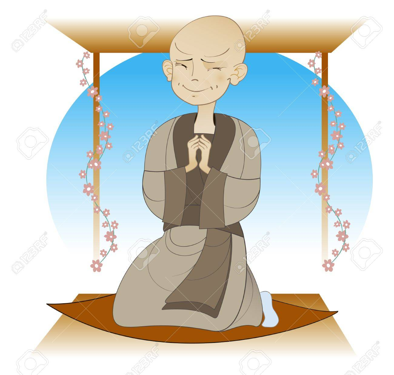 boy - a Buddhist monk praying in temple Stock Vector - 14862712